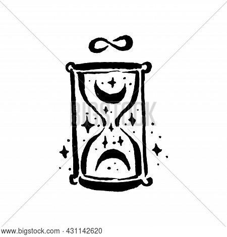 Mysticism Witchcraft Occult Hourglass Hand Drawn Illustration Set