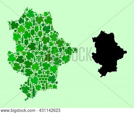 Vector Map Of Donetsk Republic. Mosaic Of Green Grape Leaves, Wine Bottles. Map Of Donetsk Republic