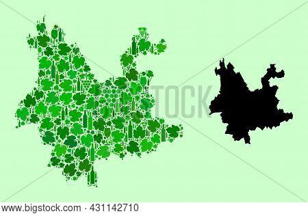 Vector Map Of Yunnan Province. Mosaic Of Green Grape Leaves, Wine Bottles. Map Of Yunnan Province Mo