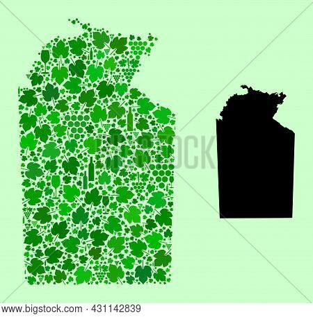 Vector Map Of Australian Northern Territory. Mosaic Of Green Grape Leaves, Wine Bottles. Map Of Aust