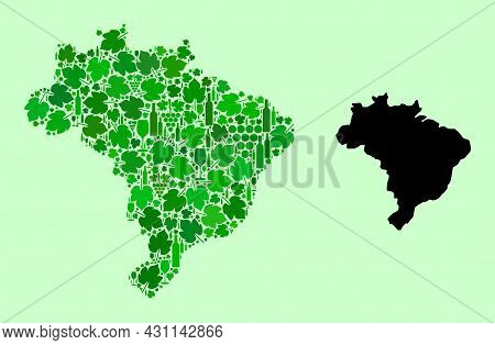 Vector Map Of Brazil. Mosaic Of Green Grape Leaves, Wine Bottles. Map Of Brazil Mosaic Composed With