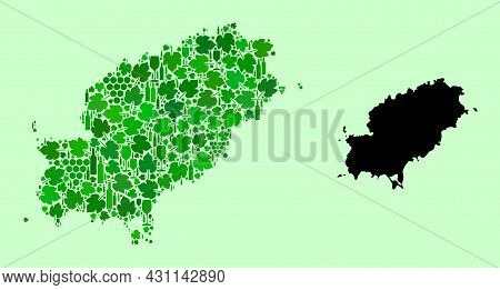 Vector Map Of Ibiza Island. Collage Of Green Grapes, Wine Bottles. Map Of Ibiza Island Mosaic Design