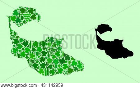 Vector Map Of Tiran Island. Mosaic Of Green Grape Leaves, Wine Bottles. Map Of Tiran Island Mosaic C