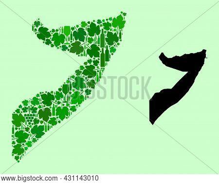 Vector Map Of Somalia. Mosaic Of Green Grapes, Wine Bottles. Map Of Somalia Mosaic Composed With Bot