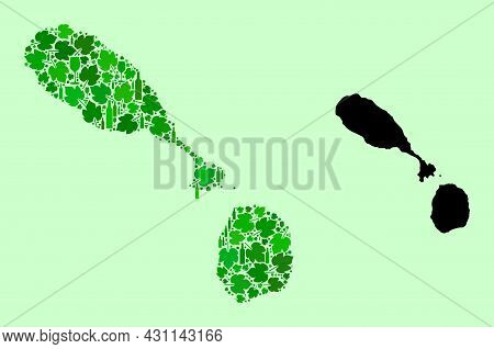 Vector Map Of Saint Kitts And Nevis. Collage Of Green Grape Leaves, Wine Bottles. Map Of Saint Kitts