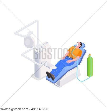 Dental Treatment Under Inhalation Sedation Isometric Icon With Male Patient 3d Vector Illustration