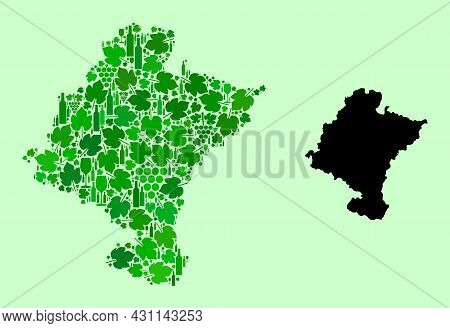Vector Map Of Navarra Province. Combination Of Green Grapes, Wine Bottles. Map Of Navarra Province M