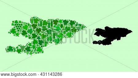 Vector Map Of Kyrgyzstan. Collage Of Green Grape Leaves, Wine Bottles. Map Of Kyrgyzstan Collage Cre