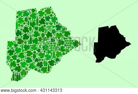 Vector Map Of Botswana. Collage Of Green Grape Leaves, Wine Bottles. Map Of Botswana Collage Created