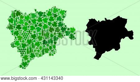 Vector Map Of Albacete Province. Mosaic Of Green Grapes, Wine Bottles. Map Of Albacete Province Mosa