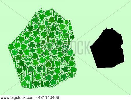 Vector Map Of Dubai Emirate. Mosaic Of Green Grape Leaves, Wine Bottles. Map Of Dubai Emirate Mosaic