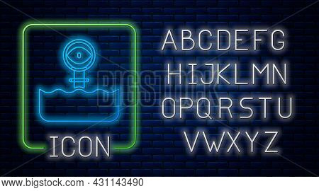 Glowing Neon Periscope In The Waves Above The Water Icon Isolated On Brick Wall Background. Neon Lig