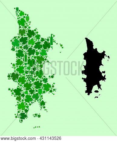Vector Map Of Phuket. Composition Of Green Grape Leaves, Wine Bottles. Map Of Phuket Collage Designe