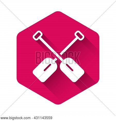 White Paddle Icon Isolated With Long Shadow Background. Paddle Boat Oars. Pink Hexagon Button. Vecto
