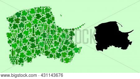 Vector Map Of Pomerania Province. Mosaic Of Green Grapes, Wine Bottles. Map Of Pomerania Province Mo