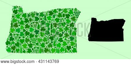 Vector Map Of Oregon State. Combination Of Green Grape Leaves, Wine Bottles. Map Of Oregon State Col