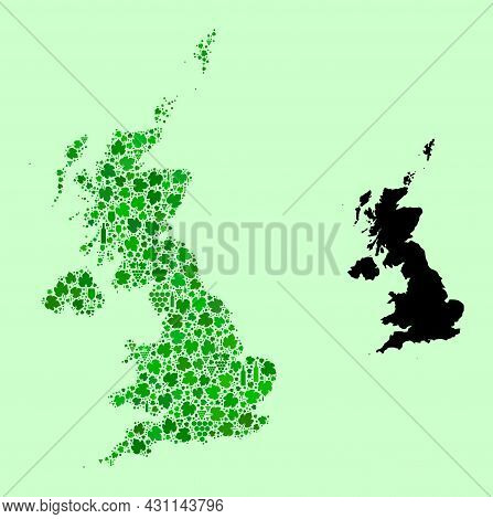 Vector Map Of United Kingdom. Mosaic Of Green Grape Leaves, Wine Bottles. Map Of United Kingdom Mosa