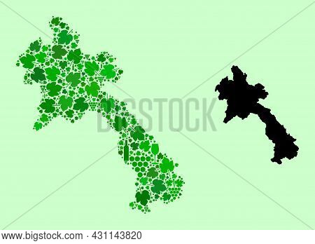 Vector Map Of Laos. Mosaic Of Green Grapes, Wine Bottles. Map Of Laos Collage Designed With Bottles,