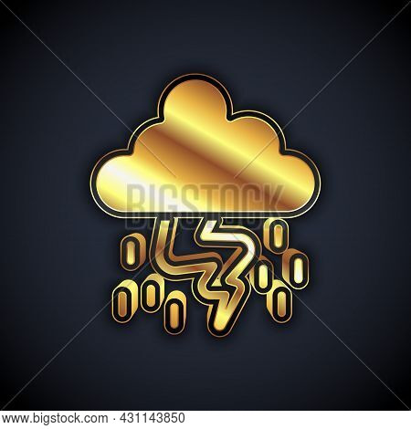 Gold Storm Icon Isolated On Black Background. Cloud And Lightning Sign. Weather Icon Of Storm. Vecto