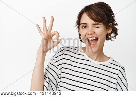 Cheeky Brunette Girl, Coquettish Woman Winking And Smiling Satisfied, Showing Okay, Ok Sign, Praise