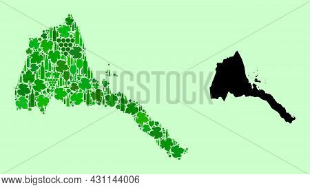 Vector Map Of Eritrea. Mosaic Of Green Grapes, Wine Bottles. Map Of Eritrea Mosaic Created With Bott