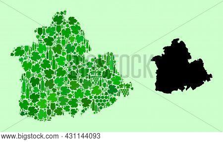Vector Map Of Sevilla Province. Mosaic Of Green Grape Leaves, Wine Bottles. Map Of Sevilla Province
