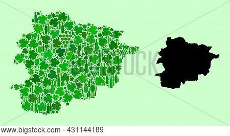 Vector Map Of Andorra. Mosaic Of Green Grape Leaves, Wine Bottles. Map Of Andorra Mosaic Created Fro