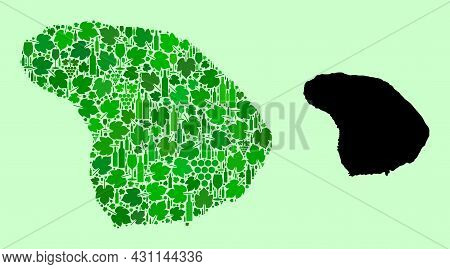 Vector Map Of Lanai Island. Collage Of Green Grape Leaves, Wine Bottles. Map Of Lanai Island Collage