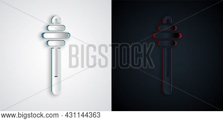 Paper Cut Honey Dipper Stick Icon Isolated On Grey And Black Background. Honey Ladle. Paper Art Styl