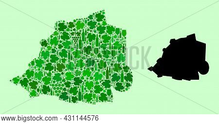 Vector Map Of Vatican. Composition Of Green Grape Leaves, Wine Bottles. Map Of Vatican Collage Creat