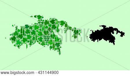 Vector Map Of Saint John Island. Composition Of Green Grape Leaves, Wine Bottles. Map Of Saint John