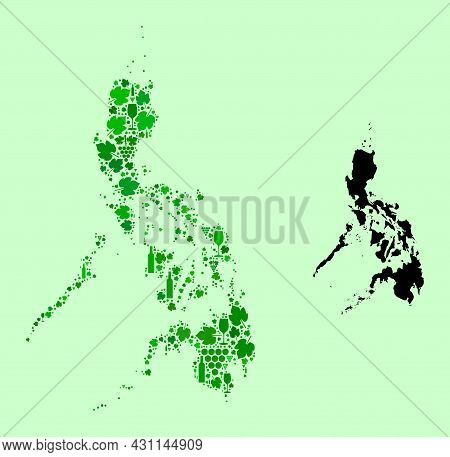 Vector Map Of Philippines. Collage Of Green Grape Leaves, Wine Bottles. Map Of Philippines Collage F