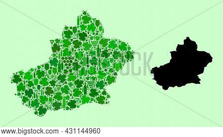 Vector Map Of Xinjiang Uyghur Region. Combination Of Green Grapes, Wine Bottles. Map Of Xinjiang Uyg