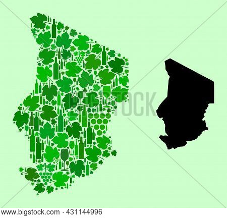 Vector Map Of Chad. Mosaic Of Green Grape Leaves, Wine Bottles. Map Of Chad Mosaic Created With Bott