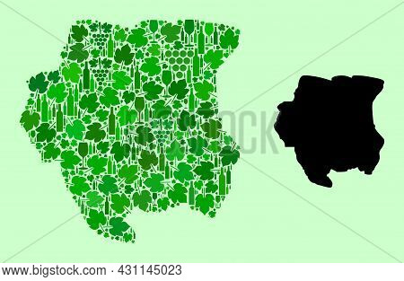 Vector Map Of Suriname. Collage Of Green Grape Leaves, Wine Bottles. Map Of Suriname Mosaic Formed W
