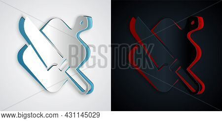 Paper Cut Cutting Board And Knife Icon Isolated On Grey And Black Background. Chopping Board Symbol.