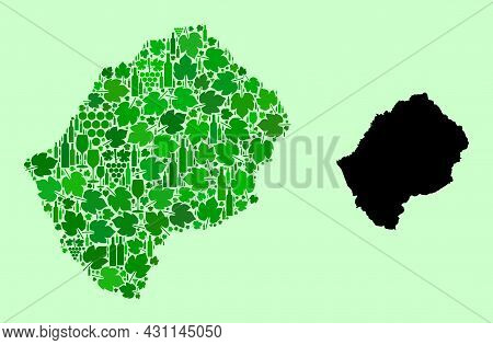 Vector Map Of Lesotho. Collage Of Green Grape Leaves, Wine Bottles. Map Of Lesotho Collage Designed
