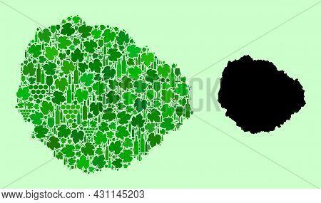 Vector Map Of La Gomera Island. Mosaic Of Green Grape Leaves, Wine Bottles. Map Of La Gomera Island