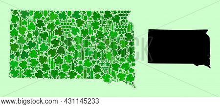 Vector Map Of South Dakota State. Mosaic Of Green Grapes, Wine Bottles. Map Of South Dakota State Mo
