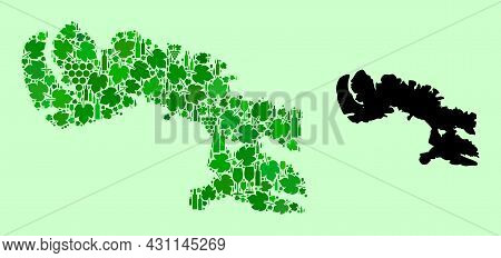 Vector Map Of Baffin Island. Mosaic Of Green Grape Leaves, Wine Bottles. Map Of Baffin Island Mosaic
