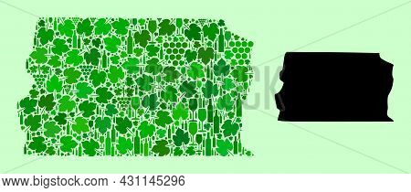 Vector Map Of Brazil - Distrito Federal. Collage Of Green Grape Leaves, Wine Bottles. Map Of Brazil