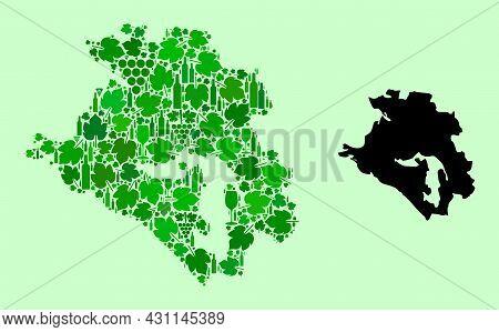 Vector Map Of Krasnodarskiy Kray. Mosaic Of Green Grapes, Wine Bottles. Map Of Krasnodarskiy Kray Mo