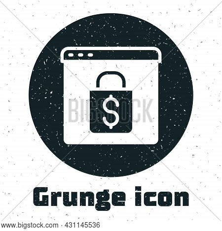 Grunge Online Shopping On Screen Icon Isolated On White Background. Concept E-commerce, E-business,