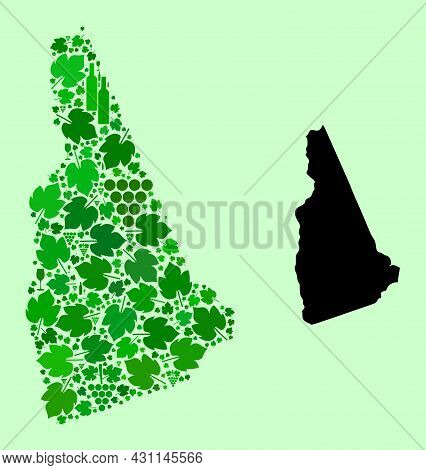Vector Map Of New Hampshire State. Composition Of Green Grape Leaves, Wine Bottles. Map Of New Hamps