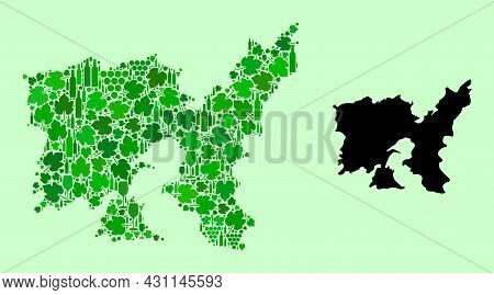 Vector Map Of Lemnos Island. Mosaic Of Green Grapes, Wine Bottles. Map Of Lemnos Island Mosaic Creat