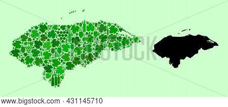 Vector Map Of Honduras. Collage Of Green Grape Leaves, Wine Bottles. Map Of Honduras Collage Compose