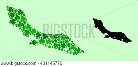 Vector Map Of Curacao Island. Mosaic Of Green Grapes, Wine Bottles. Map Of Curacao Island Mosaic Des