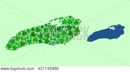 Vector Map Of Ontario Lake. Collage Of Green Grapes, Wine Bottles. Map Of Ontario Lake Collage Desig