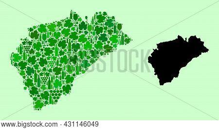 Vector Map Of Segovia Province. Mosaic Of Green Grape Leaves, Wine Bottles. Map Of Segovia Province
