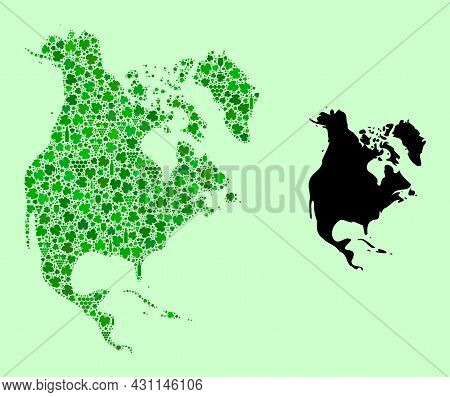 Vector Map Of North America. Collage Of Green Grapes, Wine Bottles. Map Of North America Collage Des